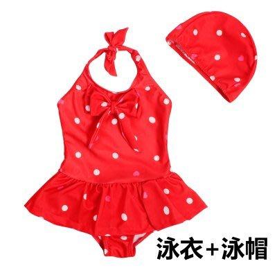 [C.M.平價精品館]S~2XL/ 女童舒適好穿超卡哇意紅底白點點連裙泳衣、泳帽套組