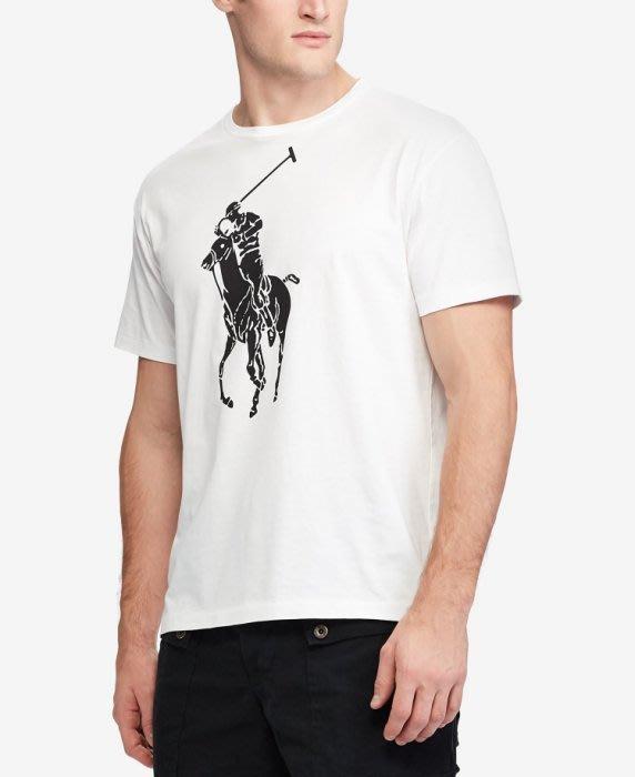 【Polo Ralph Lauren】RL 男生男裝大人 大馬短袖T恤 印染大馬Logo 純棉T恤 圓領短袖T恤 白色