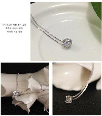 時尚韓版精品水晶S925純銀單顆美鑽項...