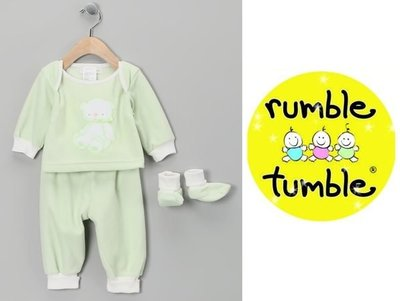 [童心歐美童裝] 美國 Rumble Tumble 搖粒絨長袖上衣+長褲+腳套三件組 / 彌月禮 (6-9M)