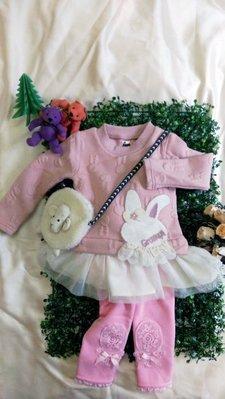 艾町Eyeing Shop 正韓 韓國進口 冬季款 女童立體粉色蕾絲兔假二件式洋裝 過年走春新衣 拜年