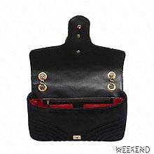 【WEEKEND】 GUCCI GG Medium Marmont 絲絨 中款 肩背包 黑色 443496