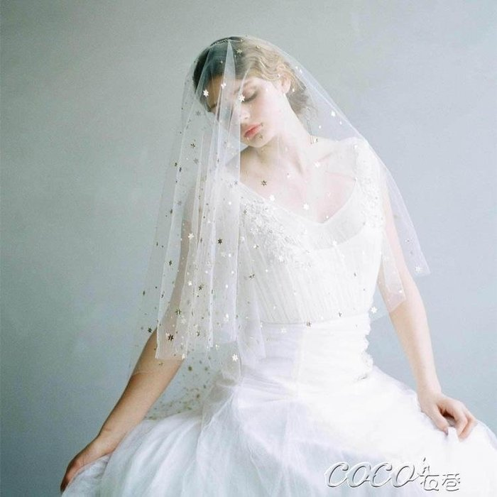 頭紗 新款中長款雙層新娘結婚禮造型星星遮臉發梳頭紗韓式婚紗禮服配件