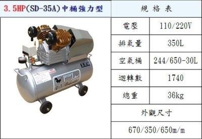 D二姐五金F 寶馬 空壓機 3.5HP (SD-35A) 中桶強力型送單手直三直5X8透色A級單手風管空壓機油 塑鋼風槍