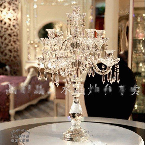 5Cgo【批發】含稅521011691391 歐式九頭水晶燭台婚慶燭台水晶蠟燭台擺件時尚奢侈浪漫蠟燭光晚餐客廳聚會晚宴婚