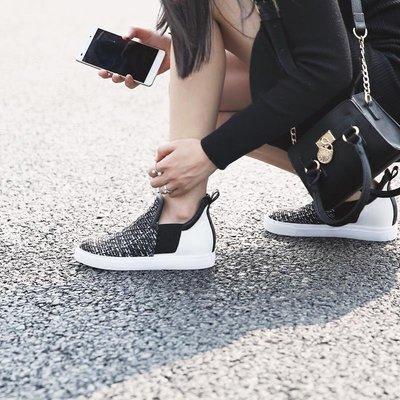 Freedom女鞋青衣自制彩呢拼接一腳蹬女鞋厚底休閒懶人單鞋增高平底樂福鞋1005