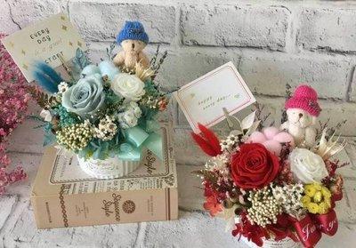 JaSmine Flora~法式蝴結雙玫瑰祝福盆花/乾燥花 永生花 居家 店鋪 婚禮 生日 情人節 開幕禮  新居