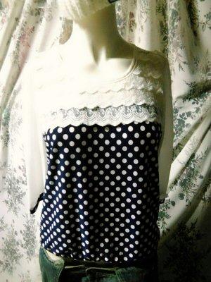 ✿Made In 30美妝館✿香港連線 領口蕾絲拼接水玉點點雪紡造型上衣