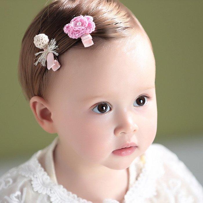 ☆草莓花園☆C171毛線花朵 一對2入 兒童髮夾安全包邊夾  拍照攝影頭飾髮飾