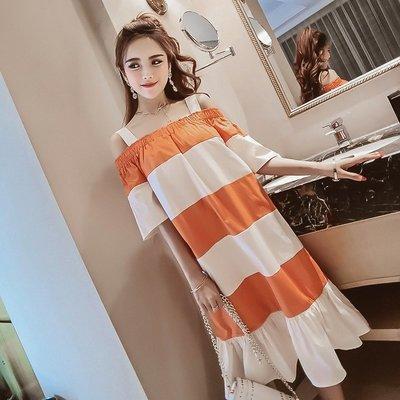 格條家 夏裝新款時尚拼色性感一字肩半袖吊帶百褶度假風連衣裙女