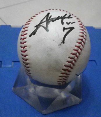 棒球天地--全台唯一--中日龍 超級新人 根尾昂 日本職棒實戰簽名球.字跡漂亮..日本空運來台