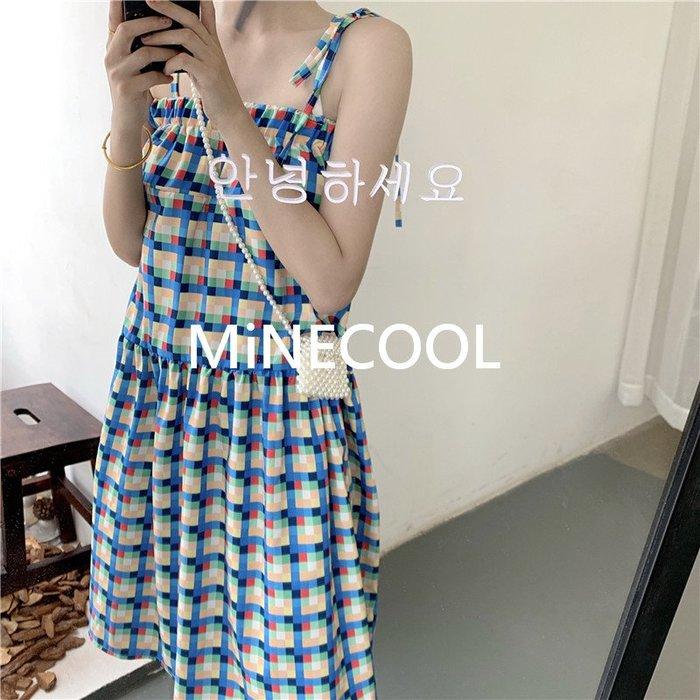 MiNE SHOP韓國 顯瘦超仙森系格子連衣裙M9611-1 圖色 均碼