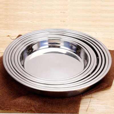 加厚304不銹鋼糕盤特大號圓盤平底菜盤年糕盤涼皮盤奶皮花盆底盤