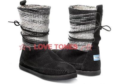 ☆╮LOVE TONES╭☆美國正品TOMS鞋『免運』Black Wool Stripe 黑色條紋羊毛雪靴 秋冬預購款