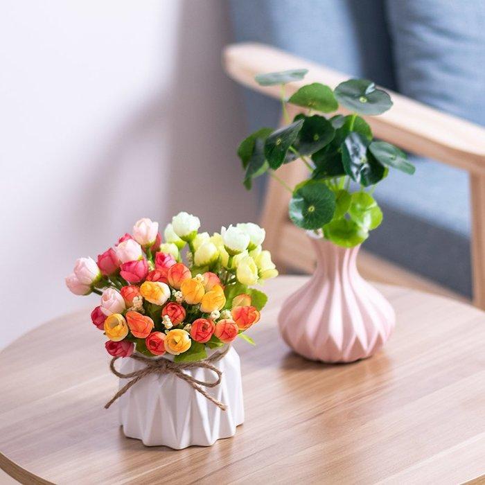 爆款簡約現代陶瓷花瓶小清新干花插花客廳歐式家居裝飾品擺件仿真花器#簡約#陶瓷#小清新