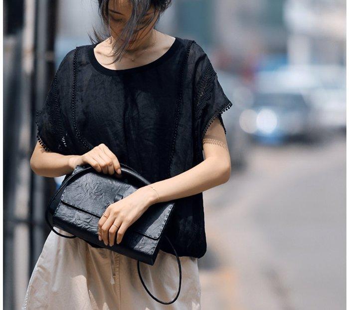 ||一品著衣|| 寫意黑色減齡水溶蕾絲花邊拼接T恤女夏季新款苧麻衫復古法式套頭襯衫上衣