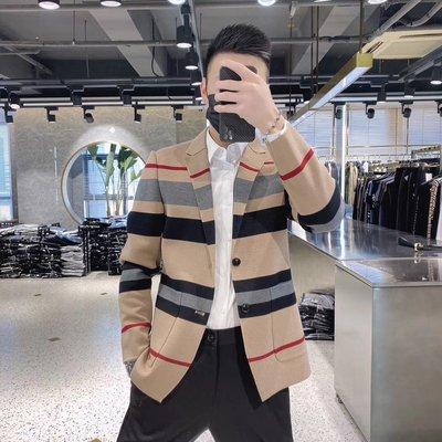 歐韓貨JIYAO2021秋季新款歐美潮流休閒西服男修身格子針織正韓西裝外套