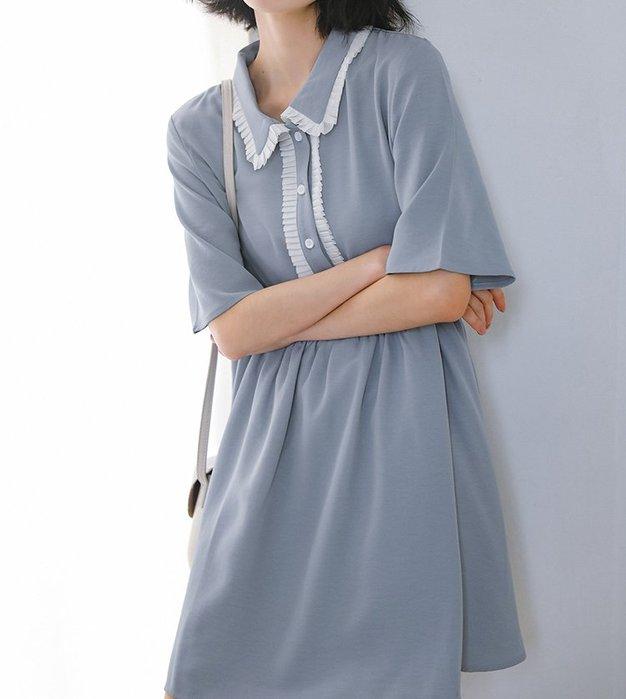 SeyeS 森林系雜誌款百搭壓摺滾邊娃娃領洋裝
