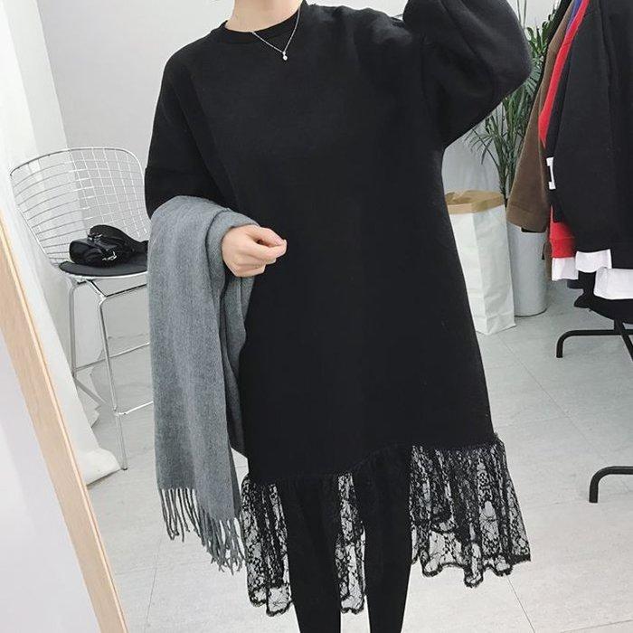 基本款拼接蕾絲A字裙洋裝【ZOWOO-G0493】11月秋冬 純黑色長袖連身裙 寬鬆荷葉邊連衣裙 非正韓國連線女人心語