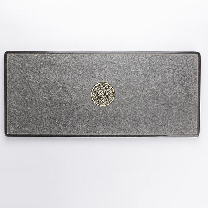 【自在坊】烏金石茶盤 原石同心圓款 規格60*30*3 整塊黑金石精雕 家用套裝茶臺 簡約造型 天然石材