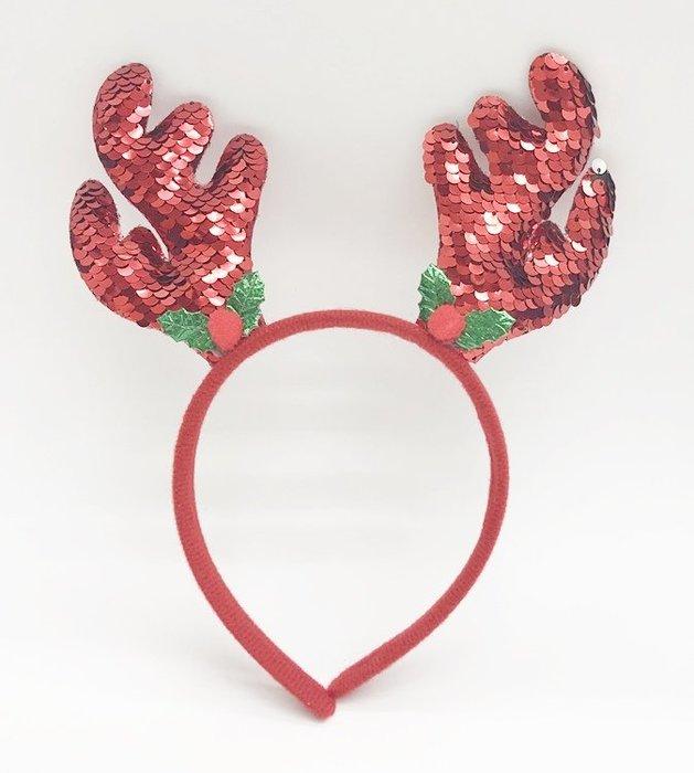 【阿LIN】194136 翻片角頭扣 紅綠色 紅銀色 髮飾 髮箍 裝飾 飾品 聖誕節用品 麋鹿 一標一入