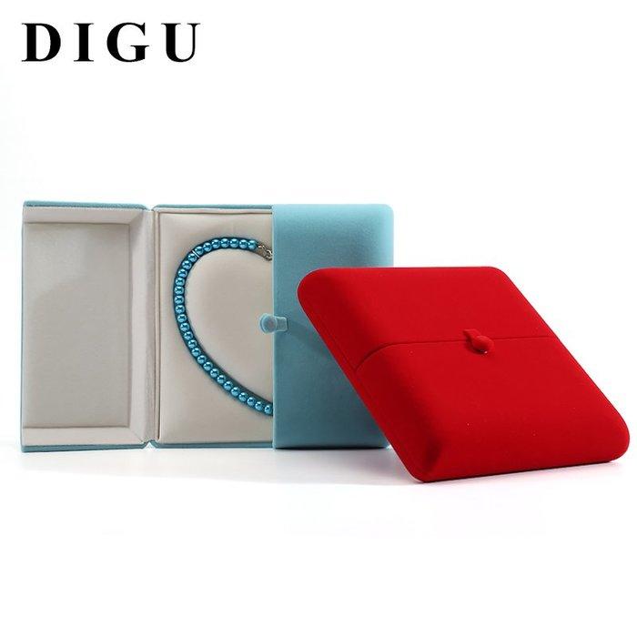 Lissom韓國代購~狄古珠寶珍珠項鍊盒心形項鍊盒子生日禮物盒長毛絨布首飾收納盒