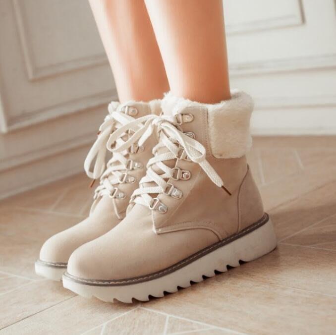 雪靴 雪地靴 短筒棉鞋 新款平底短靴 厚底鞋 防水台系帶女靴—莎芭