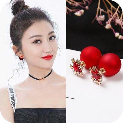 耳環 耳夾 耳飾 吊墜 耳釘 首飾925銀針新年款紅色珍珠雪花球球氣質簡約耳釘個性百搭耳環耳飾女