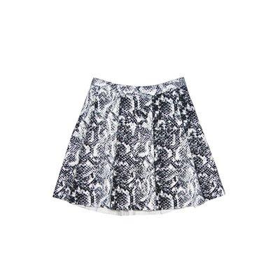 【Abercrombie&Fitch】【A&F】【S M】AF女款摺五分裙黑白蛇皮紋 F20150321-02