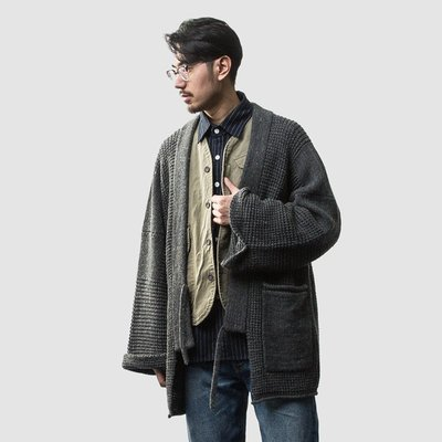 ∵ PRAY FOR FASHION ∴日系復古咔嘰劍道服毛衣道袍隨性寬鬆羊毛針織開襟衫外套