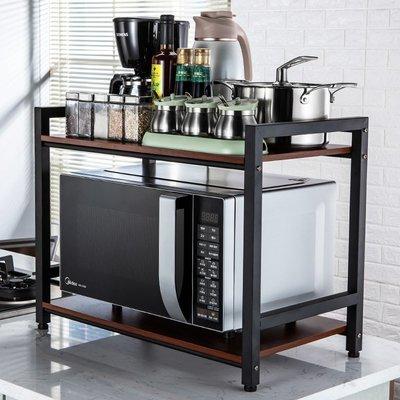小賴的店--廚房置物架落地雙層調味料收納儲物烤箱架鍋架用品微波爐架