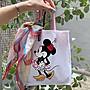 正韓 米妮 粉色提把 帆布包 手提包 購物袋 帆布 麻布 包包 卡通 可愛 雙面 網紅 韓國