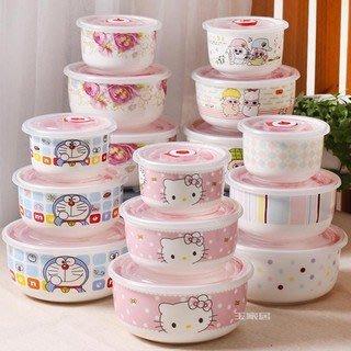 #現貨#陶瓷保鮮碗三件套便當盒微波爐專用飯盒保鮮密封碗帶蓋泡面碗logo