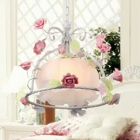 粉紅玫瑰精品屋~韓式藝術吧台灯燈單頭餐廳鐵藝公主房吊燈~