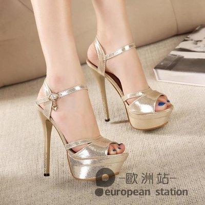 魚口涼鞋/細跟女夏季水鑽公主性感夜店恨天高15cm超高跟鞋銀色