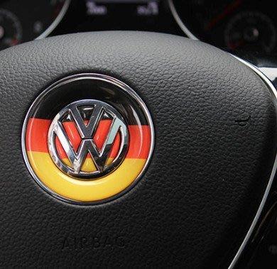 ** 福品小舖 ** 福斯 VW GOLF POLO TIGUAN  滴膠 國旗標 方向盤 飾片 車標 裝飾 貼紙