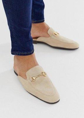 ◎美國代買◎ASOS金屬鏈條裝飾鞋面麂皮質感英倫雅痞風金屬鏈麂無後跟皮鞋拖鞋樂福拖鞋~歐美街風~大尺碼~