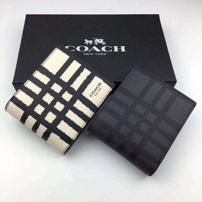 NaNa代購 COACH 22534 黑色/白色 新款拼色格子紋皮革 名片夾 卡夾 短夾 男長夾 附購證 買即送禮