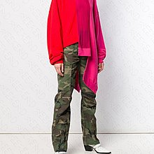 【WEEKEND】 UNRAVEL 異材質 拼接 不規則 寬鬆 長袖 大學T 衛衣 上衣 紅色 19春夏