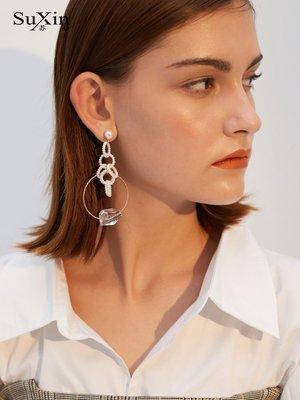 FEI日韓代購~蘇心925銀針圈圈米珠耳環女氣質韓國個性百搭長款耳釘圓環耳飾品