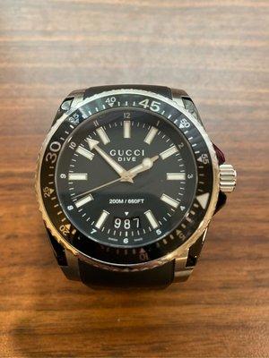 GUCCI DIVE高雅紳仕石英大腕錶 二手品 附盒裝和保卡