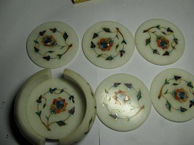 極至收藏  手工雕刻細工鑲貝 40年了 還是很美 現在已買不到這種手工 茶杯墊 咖啡墊 一套6個