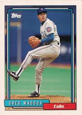 1992 Topps Greg Maddux card #580 Chicago Cubs