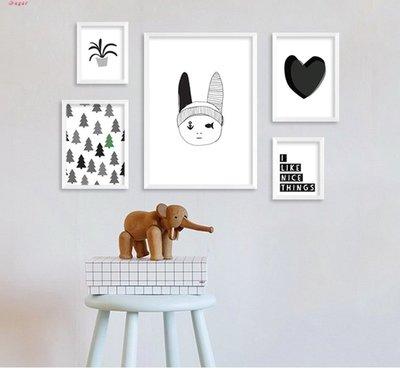 北歐客廳裝飾畫現代簡約沙發背景牆掛畫黑白創意餐廳組合有框壁畫(6款可選)