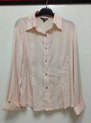 大尺碼粉紅和白色條紋相間漸層七分袖彈性襯衫