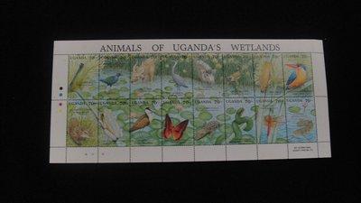 【大三元】非洲郵票-烏干達-A69各國動物專題小全張--動植物(烏干達)~原膠