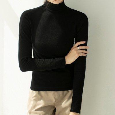 Fashion*秋冬女裝修身半高領純色針織衫 套頭長袖緊身毛衣 打底衫 多色