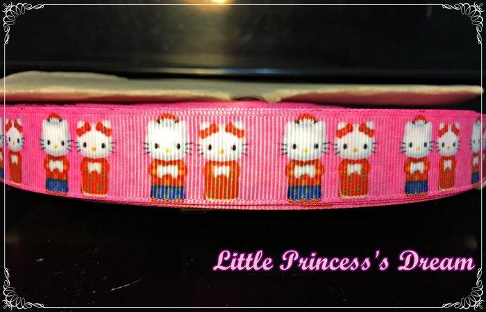 Hello Kitty 22mm 新年必備 中國風唐裝凱蒂貓精緻羅紋帶  (緞帶/髮飾材料/DIY手作) 現貨實品拍攝