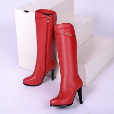 真皮長靴 高跟靴子-精緻字母金屬裝飾女鞋2色73iv7[獨家進口][米蘭精品]
