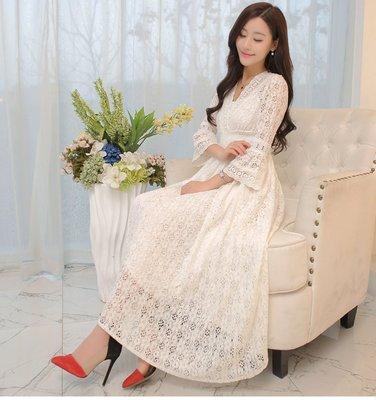 [ ohya梨花 ] =韓國帶回=最新春裝新款性感名媛穿搭白色蕾絲v領長洋裝